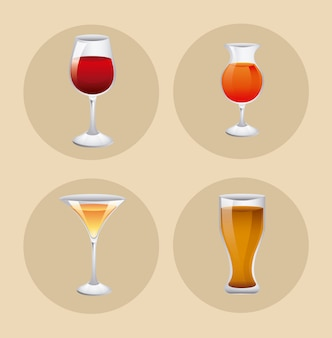 Ensemble de verre avec boisson