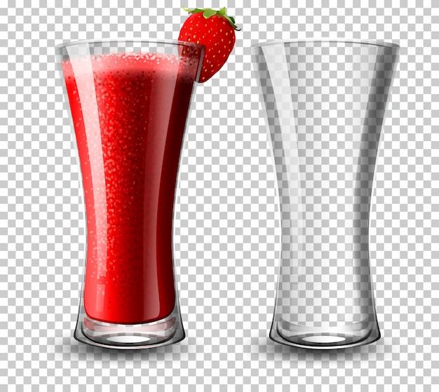 Ensemble de verre à cocktail à la fraise