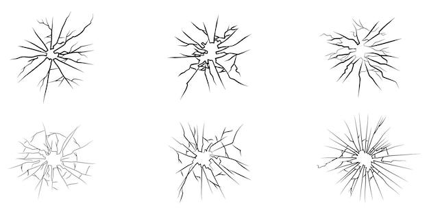 Ensemble de verre fissuré dessiné à la main. isolé sur fond blanc. élément de conception. illustration vectorielle