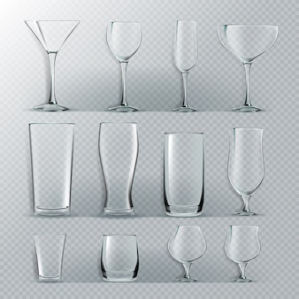 Ensemble de verre transparent