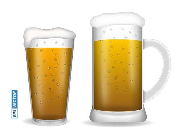 Ensemble de verres à bière réalistes isolés ou vertical gros verre plein de bière avec vecteur eps bulle
