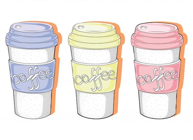 Ensemble de verres à café. collection de boissons chaudes stylisées.