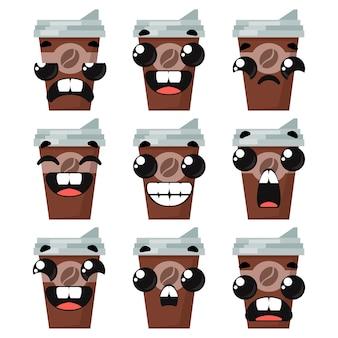 Ensemble de verres à café avec différentes émotions. illustration vectorielle dans un style enfantin de dessin animé.