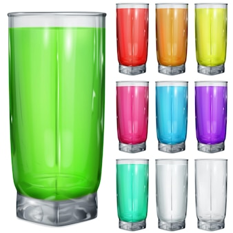 Ensemble de verres opaques avec boissons multicolores.