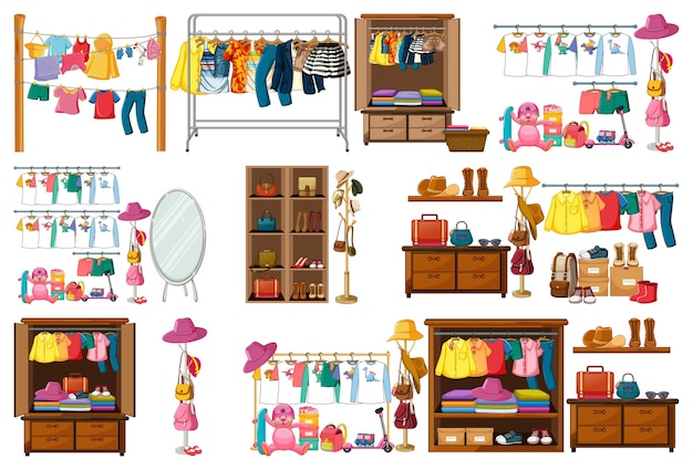 Ensemble de vêtements, accessoires et armoire sur blanc