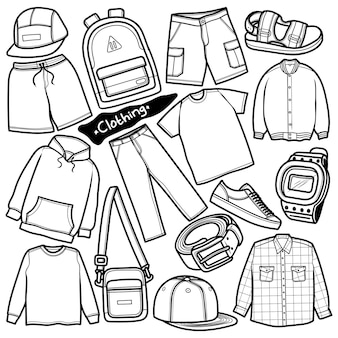 Ensemble de vêtements dessinés à la main doodle