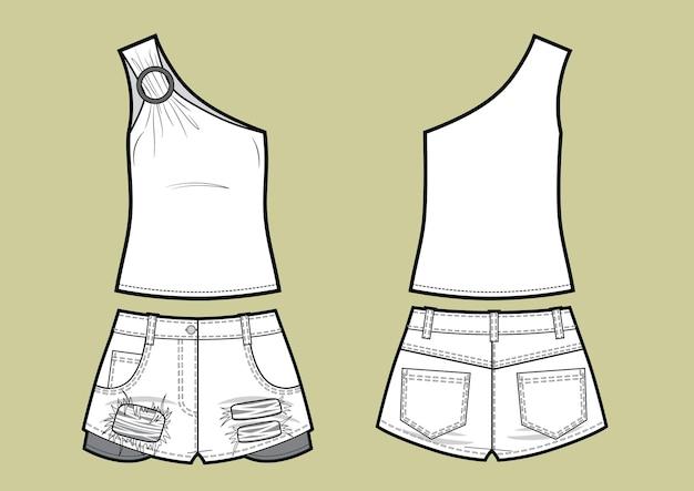 Ensemble de vêtements d'été pour femmes. top asymétrique et short en jean. illustration vectorielle.