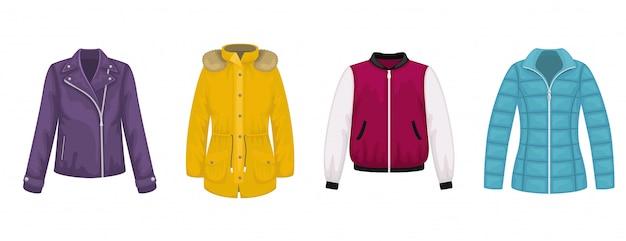 Ensemble de vêtements d'extérieur plats pour femmes. veste en cuir, blouson aviateur, parka, veste.
