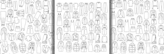 Ensemble de vêtements pour femmes dessinés à la main vector doodle et modèles sans couture