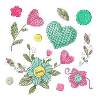 Un ensemble de vêtements tricotés cousu aiguilles à tricoter. dessin à main levée.