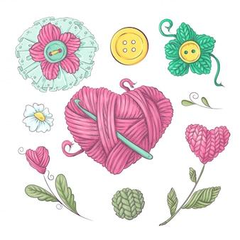 Un ensemble de vêtements tricotés cousus des aiguilles à tricoter. dessin à main levée