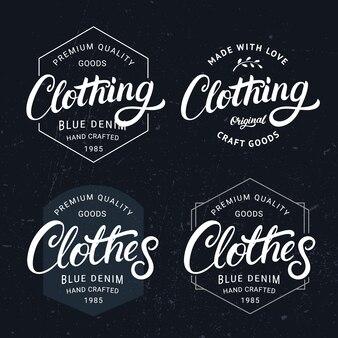 Ensemble de vêtements et vêtements étiquette de lettrage écrite à la main, insigne.