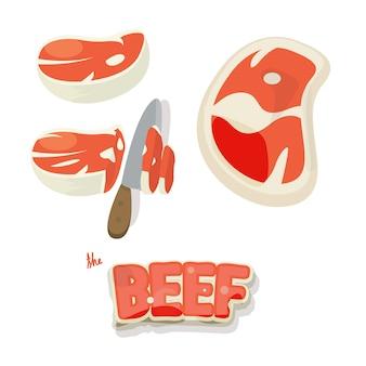 Ensemble de viande de boeuf. morceaux de viande de boeuf cru et tranche en style cartoon.