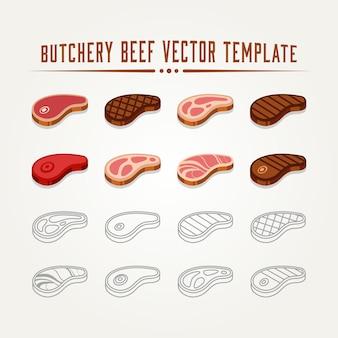 Ensemble de viande crue boeuf plat minimaliste et ligne art logo icône vector illustration design