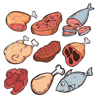 Ensemble de viande dans un style doodle