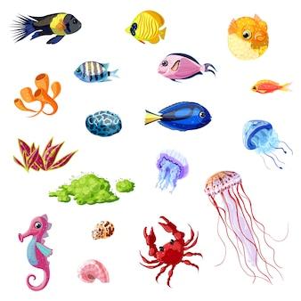 Ensemble de vie marine colorée de dessin animé