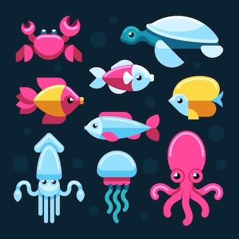 Ensemble de vie marine plate