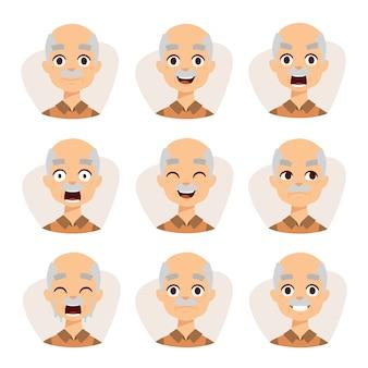 Ensemble d'un vieil homme émotions illustration simple design plat grand-père.