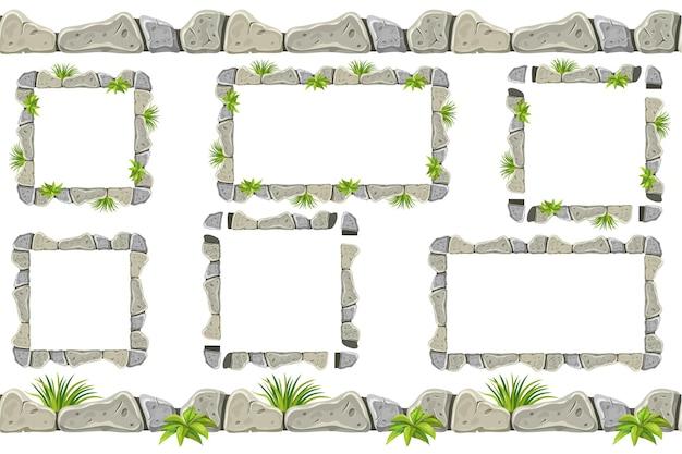 Ensemble de vieille frontière de roche grise, cadres avec de l'herbe.