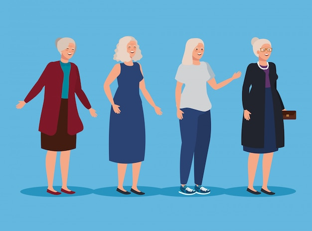 Ensemble de vieilles femmes avec des vêtements décontractés et une coiffure