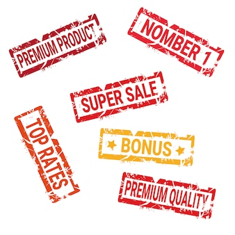 Ensemble de vieux autocollants encre safe deal de haute qualité et shopping discount collection de phoques isolés