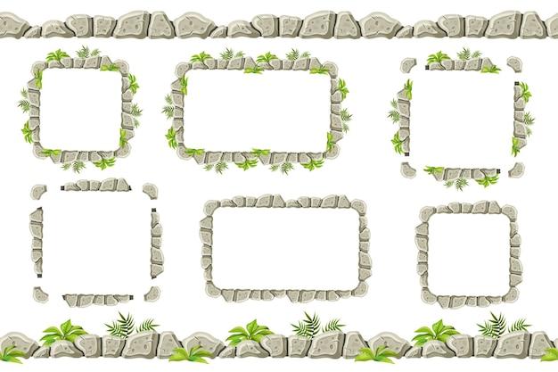 Ensemble de vieux cadres de bordure de roche grise avec de l'herbe