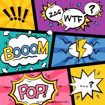 Ensemble de vignettes dessinées colorées avec des ballons de dialogue
