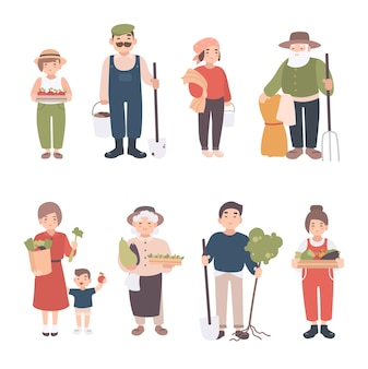 Ensemble de villageois. différents jeunes, adultes, vieux agriculteurs et enfants. heureux homme et femme avec semis, cultures, outils. illustration vectorielle colorée en style cartoon.