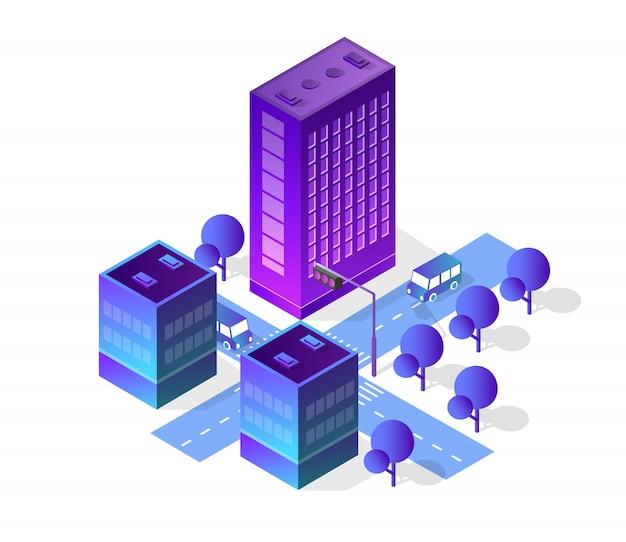 Ensemble de ville isométrique de bâtiment de couleurs violettes