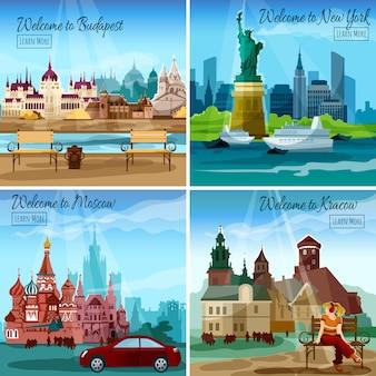 Ensemble de villes célèbres