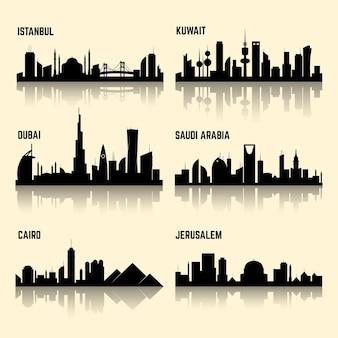 Ensemble de villes du moyen-orient