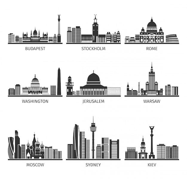 Ensemble de villes noires célèbres de paysages urbains