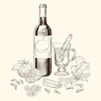 Ensemble vin chaud et épices agrumes dessinés à la main