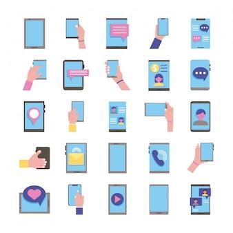 Ensemble de vingt-cinq appareils smartphones mis en icônes de collection