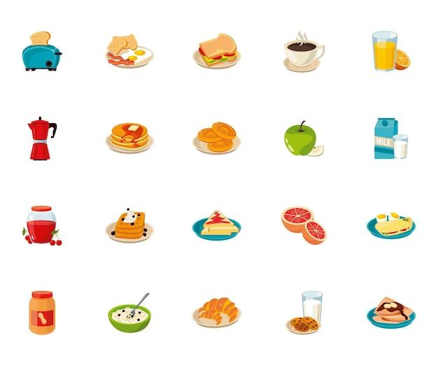 Ensemble de vingt ingrédients pour le petit déjeuner mis icônes