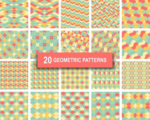 Ensemble de vingt motifs géométriques de couleur pastel