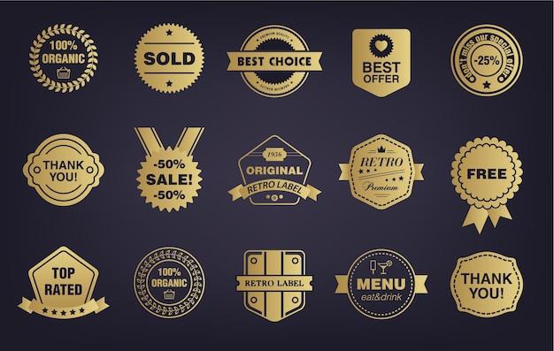 Ensemble de vintage boutique dorée, badges rétro, étiquettes, tags. stockez les enseignes avec des rubans