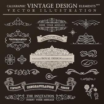 Ensemble vintage d'éléments de conception calligraphique