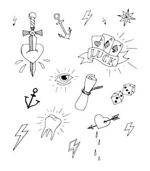 Ensemble vintage d'éléments de conception de tatouage nautique dessinés à la main