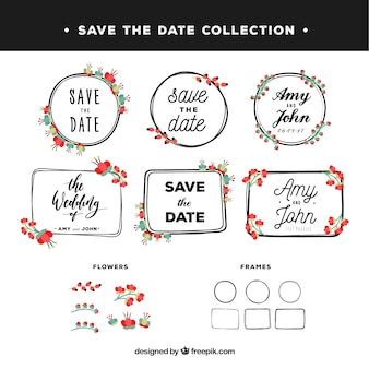Ensemble vintage d'étiquettes de mariage florales