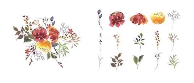 Ensemble vintage de feuilles de fleurs isolées, aquarelle florale