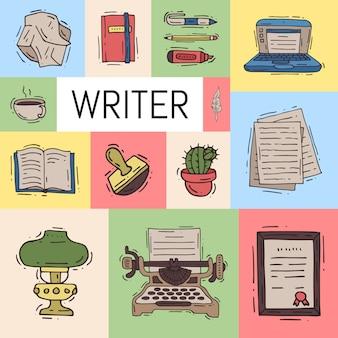 Ensemble vintage d'illustration de bureau d'écrivain.