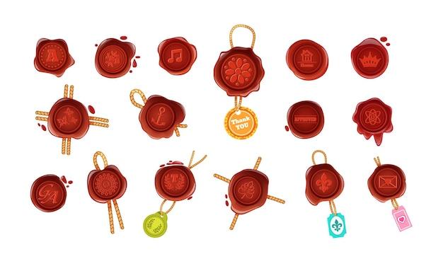 Ensemble vintage de stigmatisation de sceau de cire de timbre chaud. garantie rétro ou élément commercial secret décoré par une corde et différents symboles lettres, note, papillon, ancre, couronne, enveloppe et autocollants vecteur plat