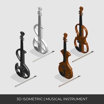 Ensemble de violon isométrique 3d personnalisé