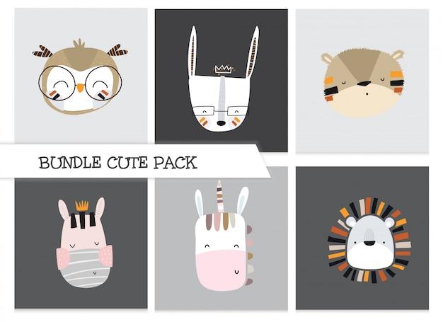 Ensemble de visage animal plat mignon collection dessin animé