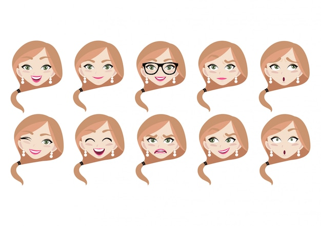 Ensemble de visage de dame et différentes émotions