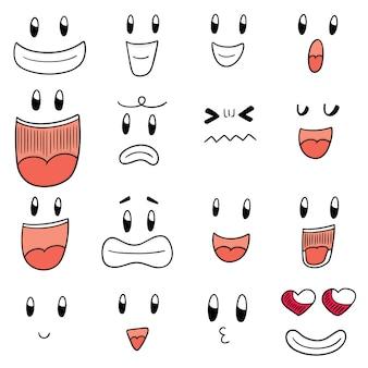 Ensemble de visage de dessin animé