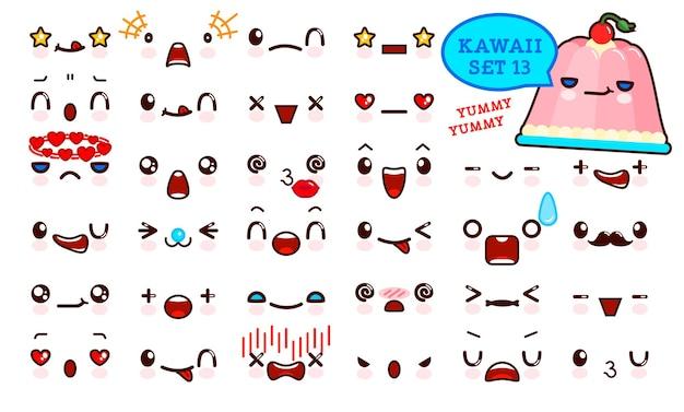 Ensemble de visage d'émoticône kawaii mignon et de gelée sucrée kawaii