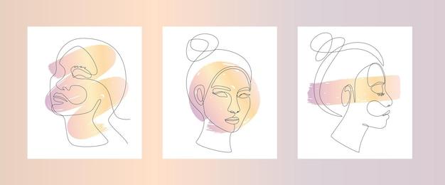 Ensemble de visage de femme asiatique dans un dessin au trait continu. illustration