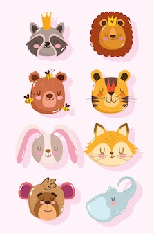 Ensemble de visages d'animaux de dessin animé mignon